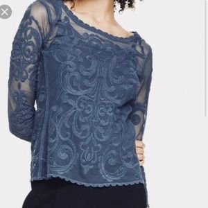 Express Blue Lace Top